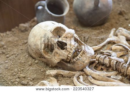 TAGANROG, RUSSIA - June 26, 2017: The remains of a skeleton of the ancient person found at excavation in the archaeological museum Tanais