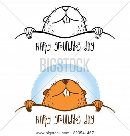 Vector Happy Groundhog day card with outline cute groundhog or marmot or woodchuck in black and brown isolated on white background. Forecast spring animal in contour style for greeting design.