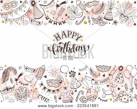 Happy birthday greeting card. Hand drawn fastive objects in horisontal line composition isolated on white background. Birthday design elements in line art style with watercolor circles.