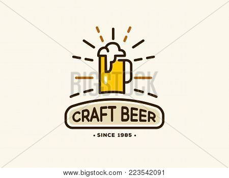 Beer house badge with logos of craft beer, emblems for beer house, bar, pub, brewing company, brewery, tavern vector illustration