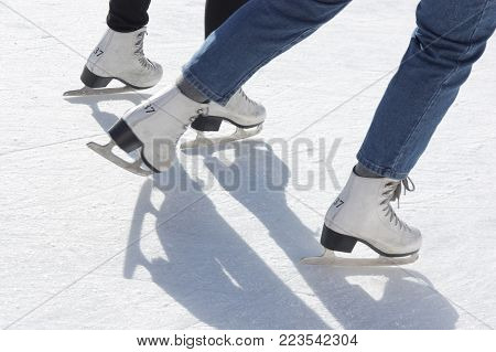 group of people on the ice skating rink
