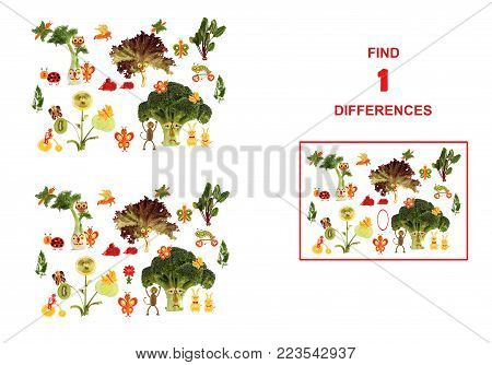 Cartoon figures of vegetables and fruits,  illustration of Educational Counting Task for Preschool Children.