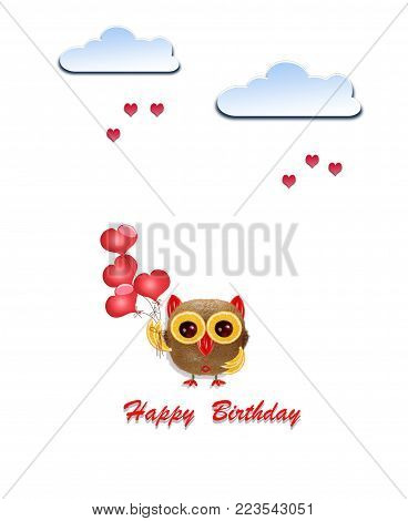 Creative birthday concept photo of paper clouds with hearts and owl made of fruits on white background.