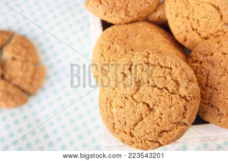 close up image of oatmeal cookies ,  selective focus