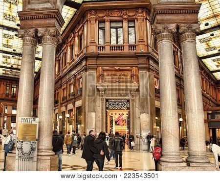 Rome, Italy - APRI 9, 2016 : Galleria Alberto Sordi in Rome on APRI 9, 2016. The Galleria is a shopping arcade in the heart of Rome at Via del Corso and was re-opened in 2003.
