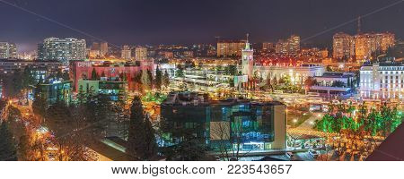 SOCHI, RUSSIA - JANUARY 11, 2018: The resort metropolis at night illumination