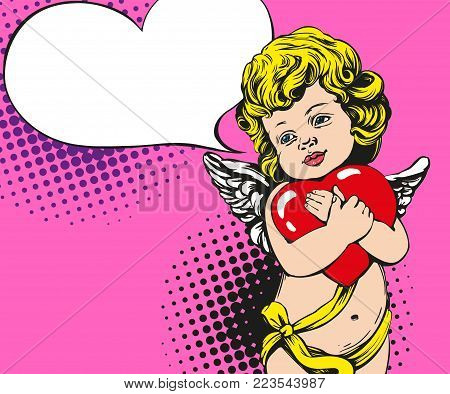 angel or cupid, little baby holds a heart, Valentines day, love, greeting card hand drawn vector illustration pop art retro comic style.