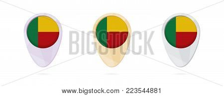 Map markers with flag of Benin, 3 color versions.