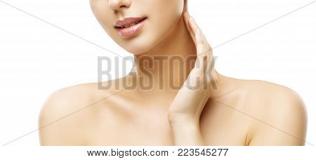 Neck Skin Care, Woman Face Makeup and Lips Beauty Treatment, Model Touch Neck by Hand, Isolated on White Background