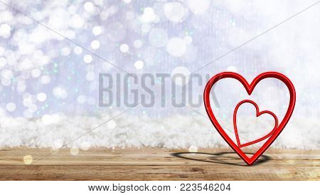 Valentine's Day. Red Attached Hearts On Blur Snow Background, Banner, Copy Space. 3D Illustration