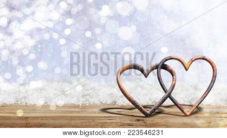 Valentine's Day. Rusty Attached Hearts On Blur Snow Background, Banner, Copy Space. 3D Illustration