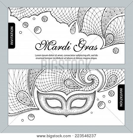 Vector horizontal invitation for Mardi Gras party with dotted carnival mask, ornate lace and beads in black on the white background. Design for Mardi Gras masquerade in contour style.