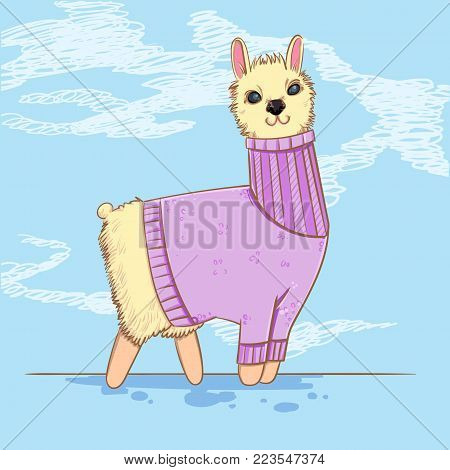 Cute alpaca or lama in a sweater on blue background. Farm animals. Kiddie cartoon character