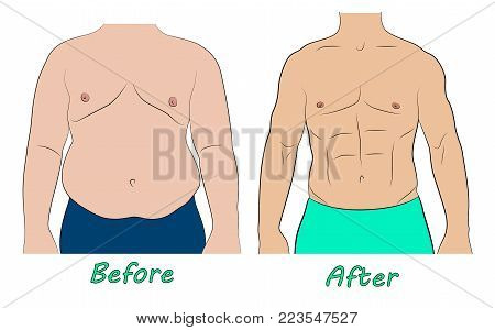 Man body before and after weight loss. Comparison of fat and slim man belly
