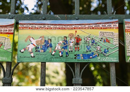 Belo Horizonte, Brazil - Dec 23, 2017: Manoel Francisco Lopes de Faria's painting depecting iconic moments in football games, captured at Belo Horizonte's famous Hippy Fair