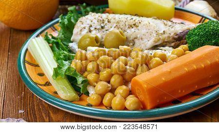Portuguese cuisine - Bacalhau com todos,  Portugal dishes, Top view.