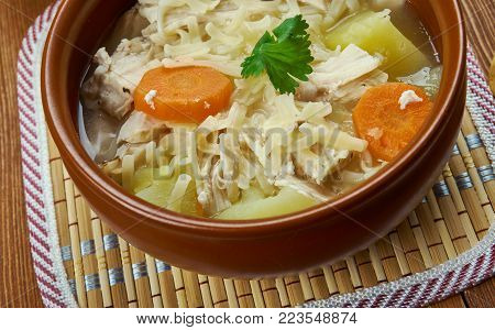 Portuguese cuisine - Canja de galinha, Traditiona Portugal dishes,  soup with chicken