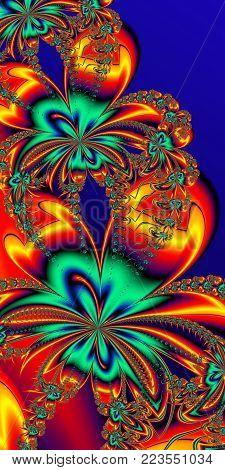 Flower pattern in fractal design. Orange and blue palette. Artwork for creative design, art and entertainment.