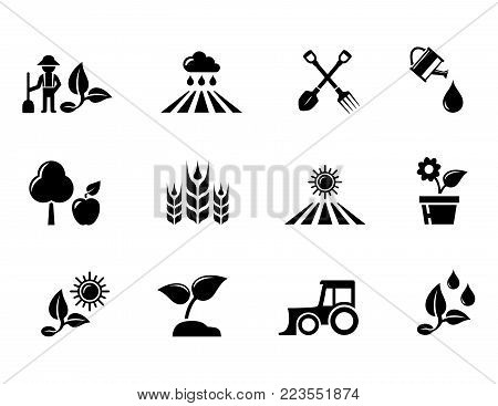 isolated agriculture and horticulture or gardening concept black icons set
