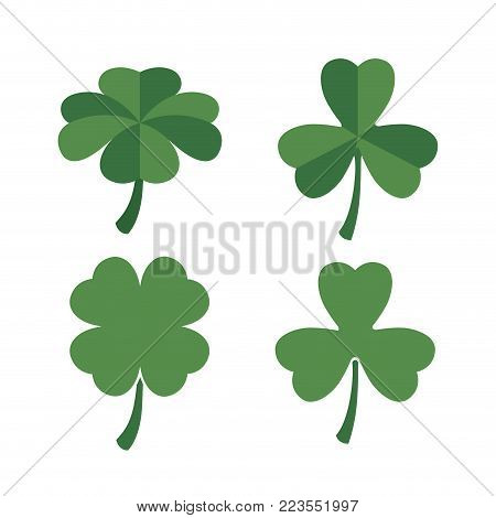 clovers set of four and three leaves in colorful silhouette over white background vector illustration