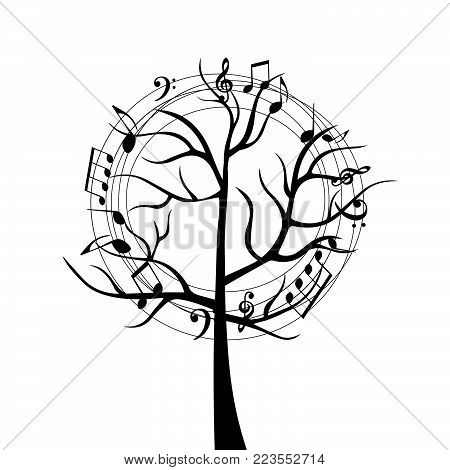 Black and white music tree with music notes. Music symbols for card, poster, invitation. Music background design vector illustration