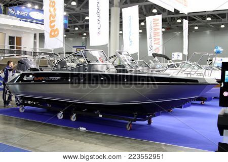 MOSCOW - MARCH 09, 2017: Boat Buster Super Magnum for 10 International boat show in Moscow. Russia.