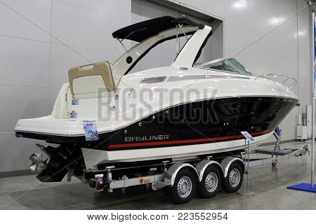 MOSCOW - MARCH 09, 2017: Yacht Bauliner 842 CU for 10 International boat show in Moscow. Russia.