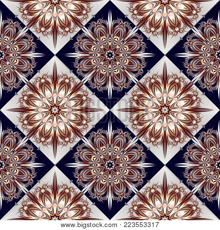 Two-tone seamless pattern with floral and square ornament. You can use it for invitations, notebook covers, phone case, postcards, cards, ceramics, carpets. Artwork for creative design.