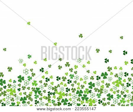 Green flat clover shamrock leaves isolated on white background. Abstract St. Patrick's day background for your greeting cards design or poster. Vector illustration