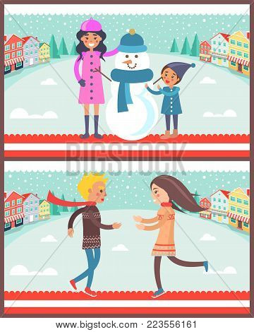 Family standing beside snowman wearing blue knitted scarf and hat, poster with couple happy to see each other, isolated on vector illustration
