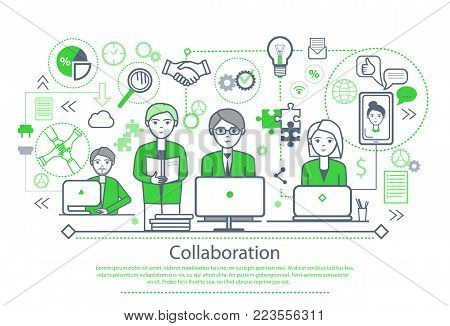 Collaboration poster with text sample, people working on computers and icons of bulb and magnifier, mobile and puzzles, hands vector illustration