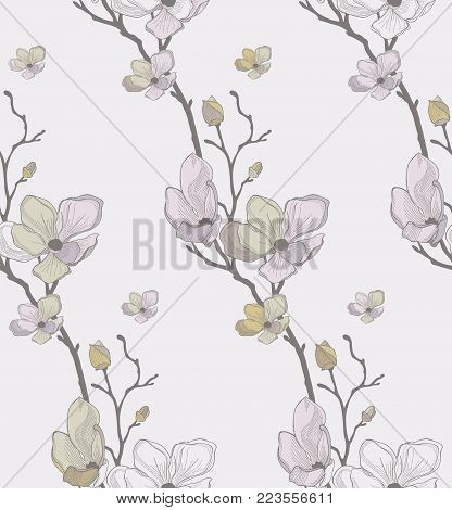 Vector Colorful Decorative Seamless Background Pattern with Drawn Flowers, Cherry Blossom. Hand Drawn. Vector Illustration with Pattern Swatch