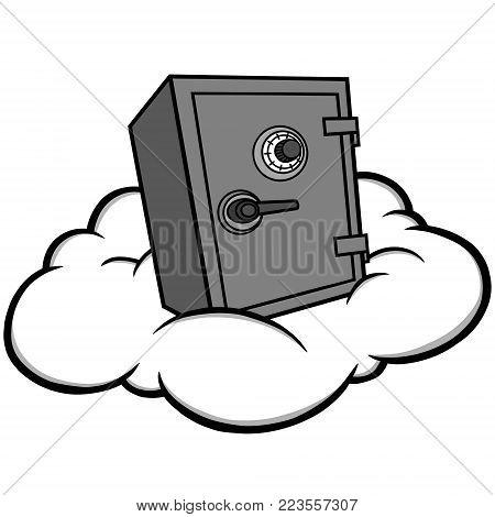 Cloud Security Illustration - A vector cartoon illustration of a Cloud Security concept.