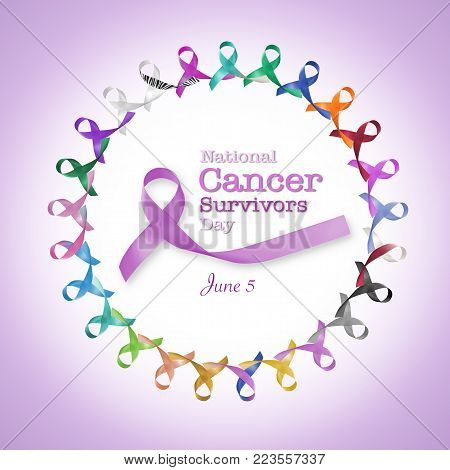 National cancer survivors day, June 5 with multi-color and lavender purple ribbons raising awareness of all kind tumors