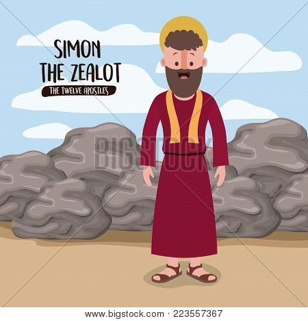 the twelve apostles poster with simon the zealot in scene in desert next to the rocks in colorful silhouette vector illustration