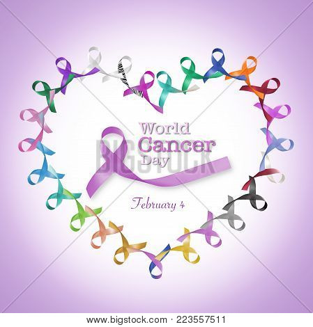 World cancer day February 4  in heart cycle of multi-color & lavender purple colour awareness ribbons for all kind cancer campaign