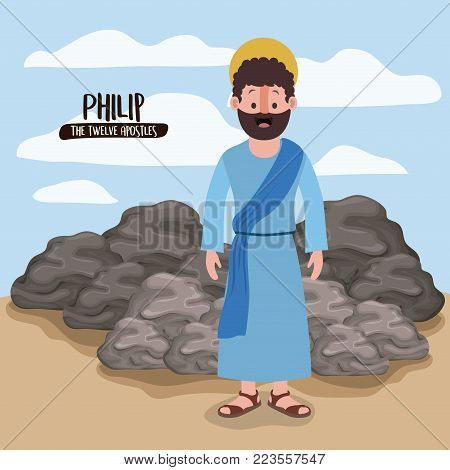 the twelve apostles poster with philip in scene in desert next to the rocks in colorful silhouette vector illustration