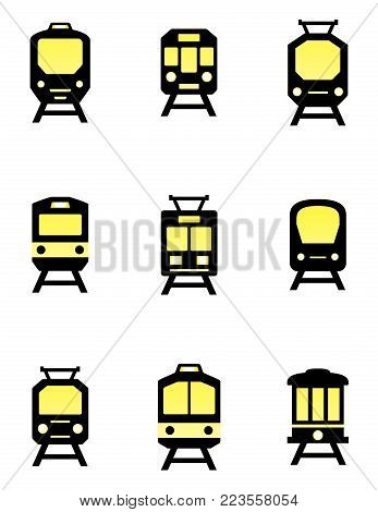 isolated train icons set with glossy accent detail