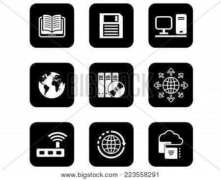 set of black isolated concept icons for computer and electronic theme