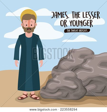 the twelve apostles poster with james the lesser in scene in desert next to the rocks in colorful silhouette vector illustration
