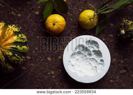 creation of an imprint in gypsum, applied art creativity, seasonal vegetables and fruits, Provencal style