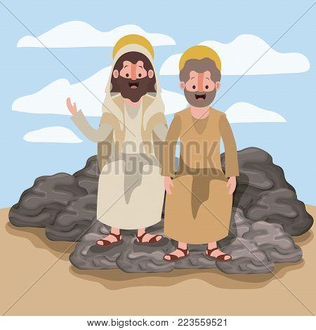 jesus the nazarene and john in scene in desert sitting on the rocks in colorful silhouette vector illustration