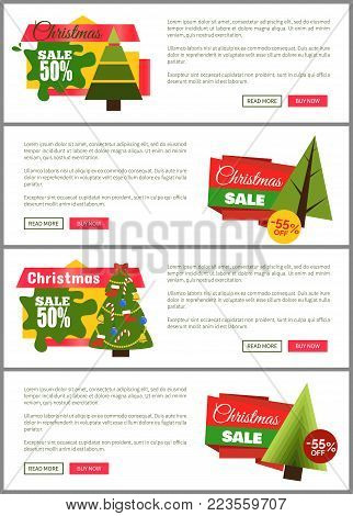 Set of Christmas sale hot price 50 off posters vector illustration with cute New Year trees, festive toys, bright ribbons, ad messages push-buttons