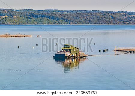 Aerial view of fishing hatchery at chiloe island, chile poster