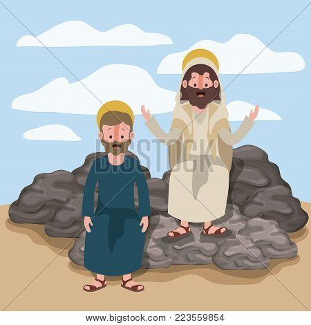 jesus the nazarene and james the lesser in scene in desert sitting on the rocks in colorful silhouette vector illustration