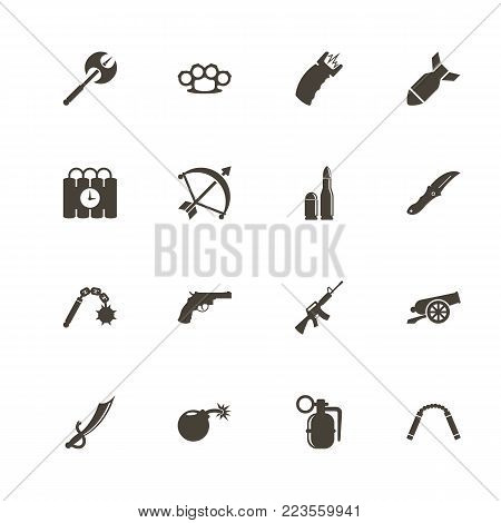 Weapon icons. Perfect black pictogram on white background. Flat simple vector icon.