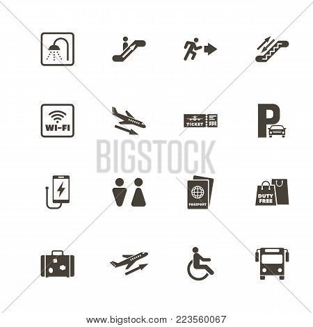 Airport icons. Perfect black pictogram on white background. Flat simple vector icon.