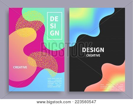 Banners collection with blots and lines as pattern, headlines in frame and text sample below, objects vector illustration isolated on grey background
