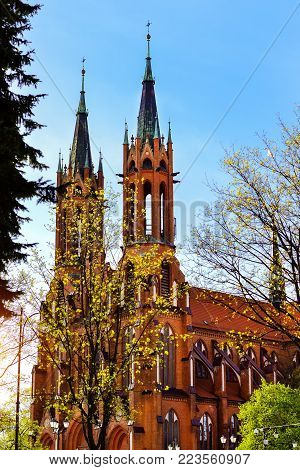 Cathedral Basilica of Assumption of Blessed Virgin Mary in Bialystok, Poland. Gothic architecture of red brick - religious memorial and place of worship