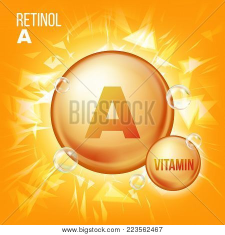 Vitamin A Retinol Vector. Vitamin Gold Oil Pill Icon. Organic Vitamin Gold Pill Icon. Capsule. For Beauty, Cosmetic, Heath Promo Ads Design. Chemical Formula. Illustration
